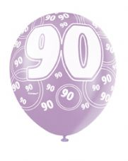 90th Birthday Pink Glitz Latex Balloons 12 inch